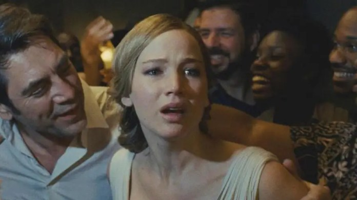 Actress leads Darren Aronofsky's new horror flick about a writer and his young wife, a couple who show up at their home and the chaos that ensues