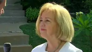 Mayor Lyda Krewson reacts after police and protesters clash after former officer is acquitted