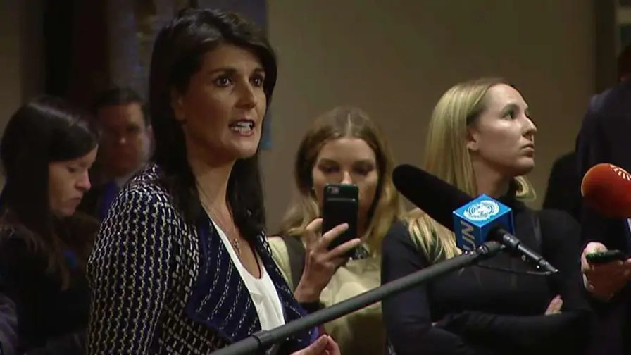 U.S. ambassador to the U.N. says she is proud of President Trump's response to the chemical attack in Syria.