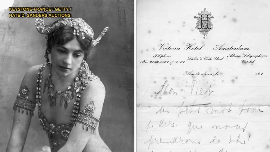 A series of love letters written by World War I spy Mata Hari, have sold at auction for $15,000. The 10 letters were written to her lover the then unknown artist Piet Van Der Hem, were written in French and Dutch and likely range from late 1914 to early 1915.