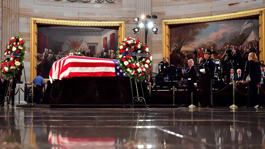 American service members in dress uniform carried Senator John McCain into the United States Capitol for the final time; chief congressional correspondent Mike Emanuel reports.