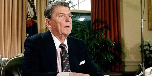 President Ronald Reagan is seen in the Oval Office after addressing the nation regarding the space shuttle Challenger explosion, Jan. 28, 1986. (Associated Press)