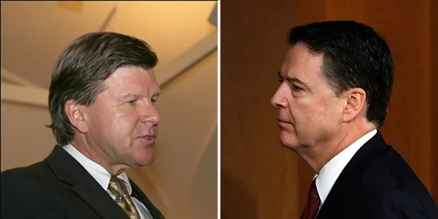 Michael Kortan, left, departed the FBI after previously serving under James Comey and Robert Mueller.