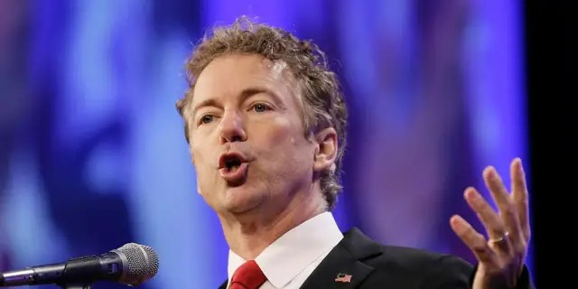 Republican presidential candidate Sen. Rand Paul speaks in Des Moines, Iowa, May 16, 2015. Congress' debate over domestic surveillance is scrambling partisan divisions in the Senate as libertarian-minded Republicans defy their leaders to make common cause with liberal Democrats. (Associated Press)