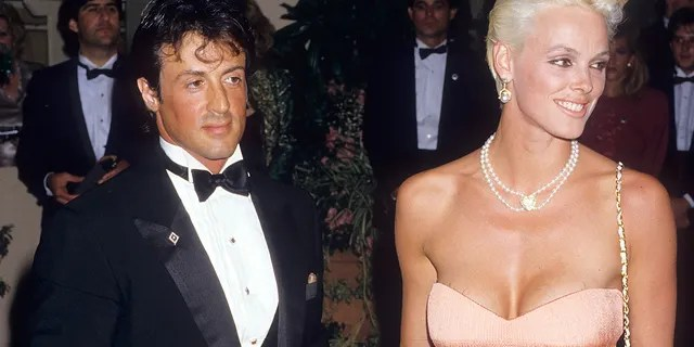 Sylvester Stallone and Brigitte Nielsen attend the 15th Annual American Film Institute (AFI) Lifetime Achievement Award Salute to Barbara Stanwyck on April 9, 1987 at the Beverly Hilton Hotel in Beverly Hills, California.