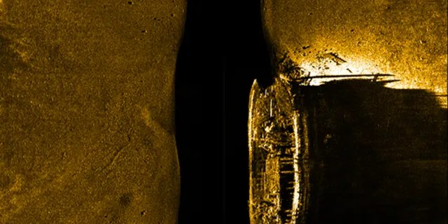 A sonar image showing the ill-fated HMS Erebus shipwreck.