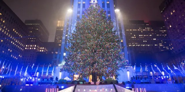 The Christmas tree stands lit after the lighting ceremony for the 84th annual Rockefeller Center Christmas Tree at Rockefeller Center, Nov. 30, 2016.
