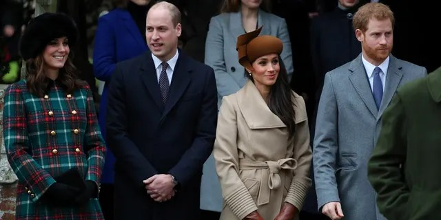 Left to right: Duchess Kate, Prince William, Meghan Markle and Prince Harry stand outside of Church of St. Mary Magdalene on Christmas Day. Social media users took to Twitter to express their unhappiness with the Duke of Sussex.