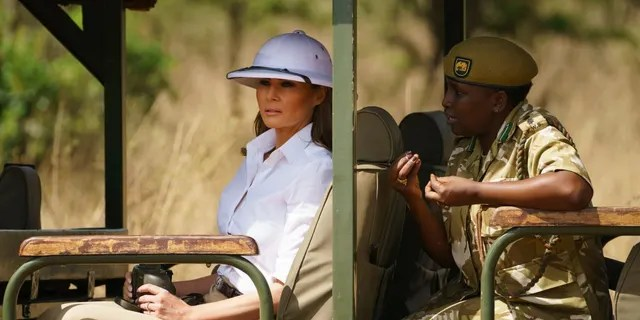 First lady Melania Trump looks out over Nairobi National Park in Nairobi, Kenya, Friday, Oct. 5