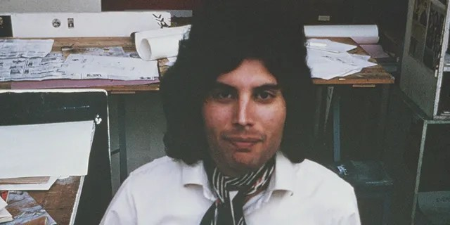 Freddie Mercury from English rock group Queen posed at Ealing Art College in London in 1969.