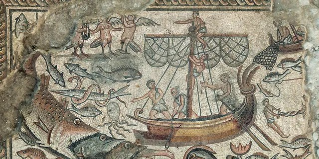 A mosaic depicting Jonah being swallowed by a fish.