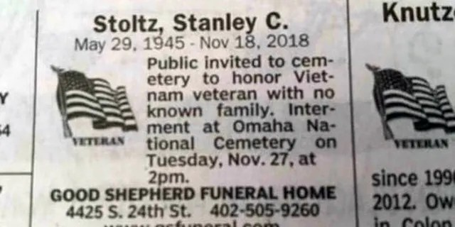 The Omaha World-Herald funeral notice for Stanley Stoltz.