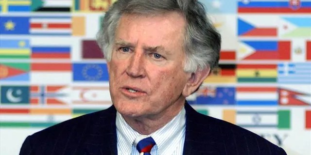 Gary Hart, former US Senator of Colorado, poses for a photo in 2003.