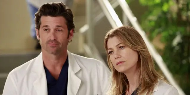Patrick Dempsey and Ellen Pompeo as Dr Derek Shepherd and Dr Meredith Gray in