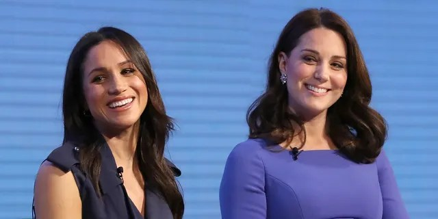 Meghan Markle with Kate Middleton during happier times.