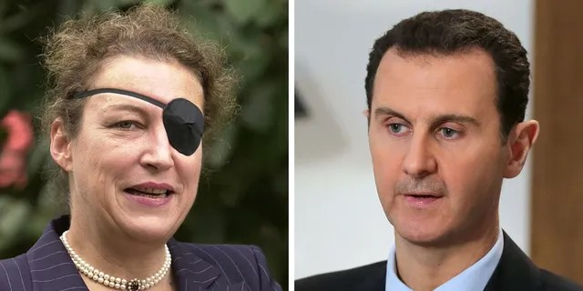 American journalist Marie Colvin, who died in 2012 while covering the Syrian civil war; Syrian President Bashar al-Assad