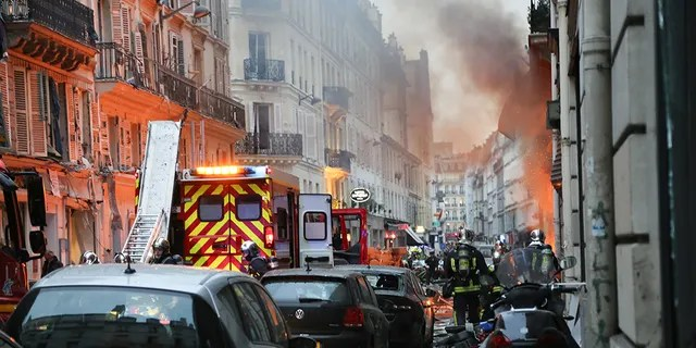 Firefighters respond the scene after A huge blast destroyed buildings and left casualties in French capital Paris on January 12, 2019.