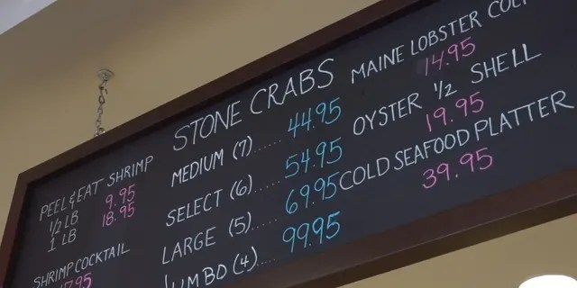 Resturants in Florida like Joe's Stone Crab in Miami Beach have seen prices steadily rise in recent months. (Elina Shirazi / Fox News)