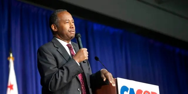 U.S. Secretary of Housing and Urban Development Ben Carson speaks to delegates during the California Republican Party convention in Sacramento, Calif., Saturday, Feb. 23, 2019. (AP Photo/Steve Yeater)