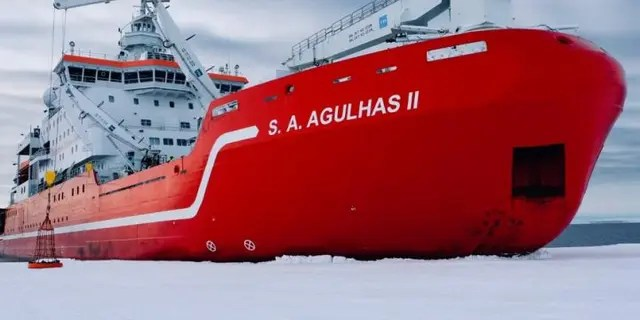 The research vessel and icebreaker S.A. Agulhas II (Weddell Sea Expedition 2019)