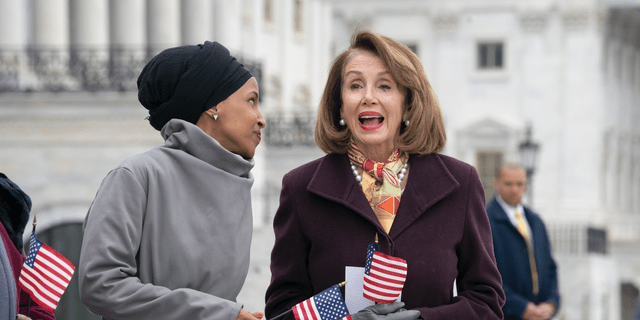 Speaker Nancy Pelosi defended Democrat Rep. Ilhan Omar and said she doesn't think the congresswoman is anti-Semitic at an Economic Club event Friday. Omar and Pelosi are picturedoutside the Capitol. (AP Photo/J. Scott Applewhite)