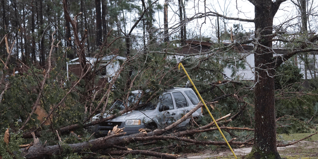 A vehicle is caught under downed trees along Lee Road 11 in Beauregard, Ala., Sunday, March 3, 2019, after a powerful storm system passed through the area.