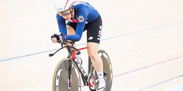 Kelly Catlin pictured here competing in theWomen's Individual Pursuit Finals during 2017 UCI World Cycling in April 2017 in Hong Kong.