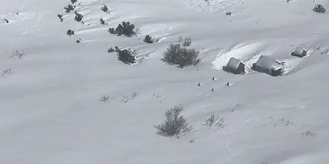 Officials released a photo showing an aerial view of the heavy snow that inundated the area near the Onion Valley hiker parking lot, where rescue teams are searching.