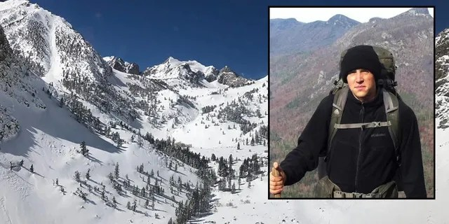 First Lt. Matthew Kraft, inset in an undated photo provided by the U.S. Marine Corps, began his trek at the Kearsarge Pass trailhead on Feb. 23. Officials released a photo showing an aerial view of the trail area being searched.