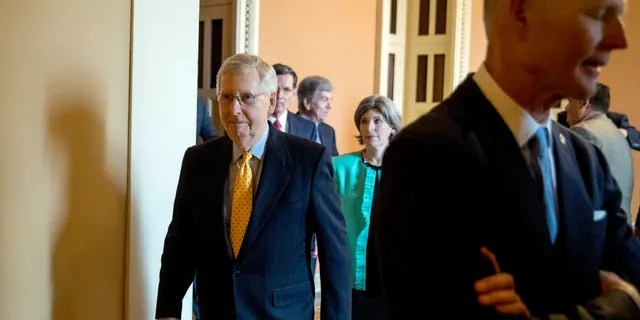 US Senate Deputy Majority Leader Mitch McConnell of Kentucky arrives in Washington on Tuesday, April 9, 2019 after a US Senate lunch on Capitol Hill to speak with the media. (AP Photo / Andrew Harnik)