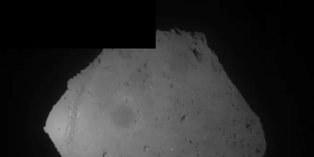 This image released by the Japan Aerospace Exploration Agency (JAXA) shows the asteroid Ryugu Friday, April 5, 2019.