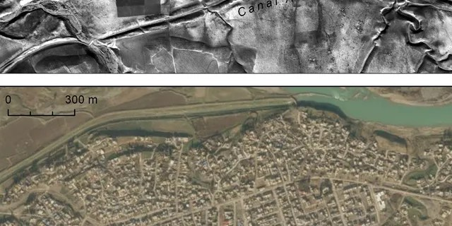 At top, canals and site on the right bank of the Upper Zab River, photographed by a U2 spy plane on Jan. 20, 1960. At bottom, DigitalGlobe image showing the growth of the modern town of Khabat over the same features. (Emily Hammer and Jason Ur)