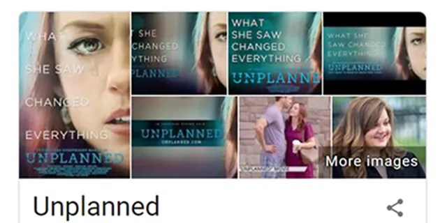 A Google screenshot shows 'Unplanned' listed as 'Drama/Propaganda.'