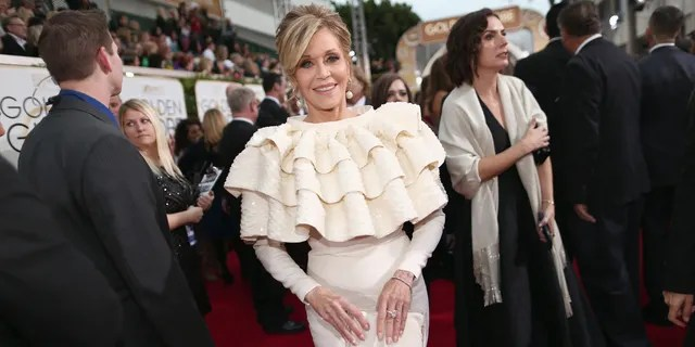 BEVERLY HILLS, CA - JANUARY 10: 73rd ANNUAL GOLDEN GLOBE AWARDS -- Actress Jane Fonda arrives to the 73rd Annual Golden Globe Awards held at the Beverly Hilton Hotel on January 10, 2016