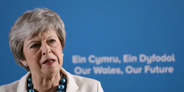 Britain's Prime Minister Theresa May speaks at the Welsh Conservative party conference at Llangollen Pavilion, Llangollen, Wales, Friday May 3, 2019. Britain's main Conservative and Labour parties took a hammering in local elections as Brexit-weary voters expressed frustration over the country's stalled departure from the European Union