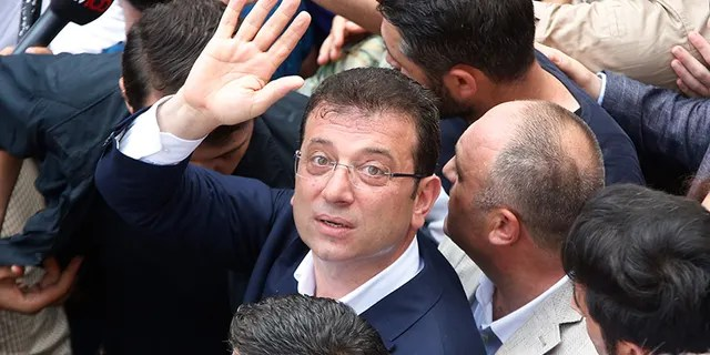 """""""Thank you, Istanbul,"""" Ekrem Imamoglu, 49, said to the tens of thousands of people who gathered to mark his victory after unofficial results showed he won a clear majority of the vote. (AP Photo/Lefteris Pitarakis)"""