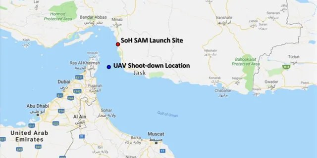 The location where the U.S. Navy RQ-4 was down down by a surface-to-air missile fired by Iran.