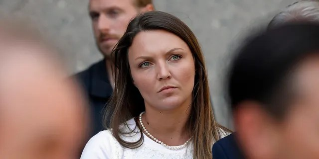 Courtney Wild, one of Jeffrey Epstein's accusers who spoke at his bail hearing, attends a news conference outside federal court, in New York, Monday, July 15, 2019. (AP Photo/Richard Drew)
