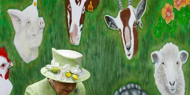 FILE: Britain's Queen Elizabeth II walks by an animal mural, during a visit to Gorgie City Farm in Edinburgh, Scotland.