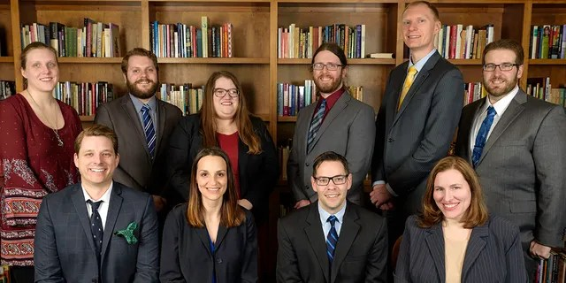 The legal staff of the Freedom from Religion Foundation, which says it plans to file an amicus curiae brief with the Supreme Court supporting the Montana decision in Espinoza v. Montana Department of Revenue. Patrick Elliott, who spoke with Fox News, sits in the bottom row, second from the right. (FFRF)
