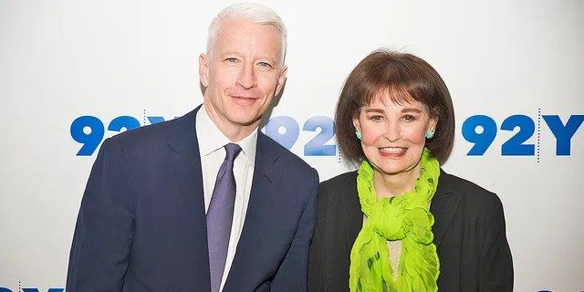 Anderson Cooper and Gloria Vanderbilt attend A Conversation With Anderson Cooper And Gloria Vanderbilt at 92Y on April 14, 2016 in New York City. Vanderbilt died in June 2019.