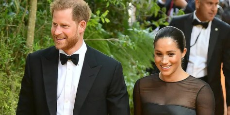 """Meghan, Duchess of Sussex and Prince Harry, Duke of Sussex attend """"The Lion King"""" European Premiere at Leicester Square on July 14, 2019 in London."""