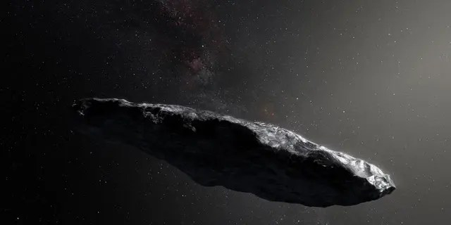 Artist's illustration of 'Oumuamua, the first known interstellar object spotted in our solar system.