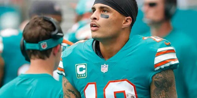 FILE - In this Dec. 9, 2018, file photo, Miami Dolphins wide receiver Kenny Stills (10) stands along the sideline during the first half of the team's NFL football game against the New England Patriots in Miami Gardens, Fla. (Associated Press)
