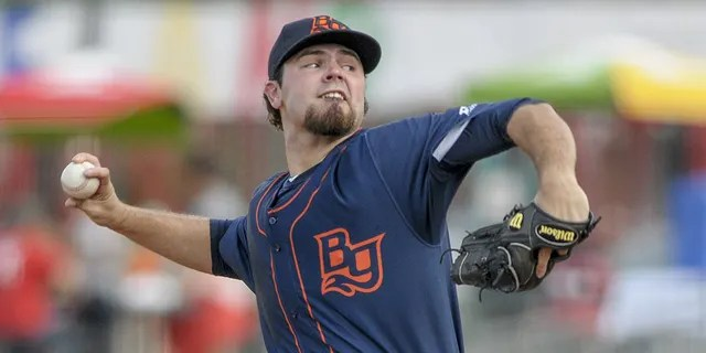 Blake Bivens (38) throws a pitch during a Bowling Green Hot Rods game.