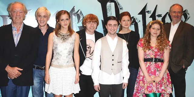 From left: Michael Gambon, Tom Felton, Emma Watson, Rupert Grint, Daniel Radcliffe, Bonnie Wright, Jessie Cave and Jim Broadbent are seen at a photocall to launch the new film,