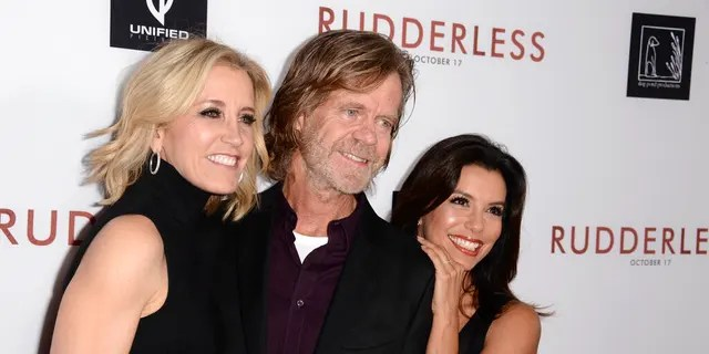 "Felicity Huffman, William H. Macy and Eva Longoria arrive at the Los Angeles VIP screening of ""Rudderless"" in 2014. (Photo by Dan Steinberg/Invision/AP, File)"