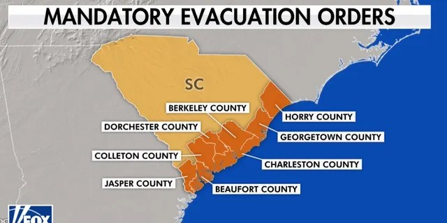 Mandatory evacuation orders have been issued in coastal South Carolina ahead of Hurricane Dorian.