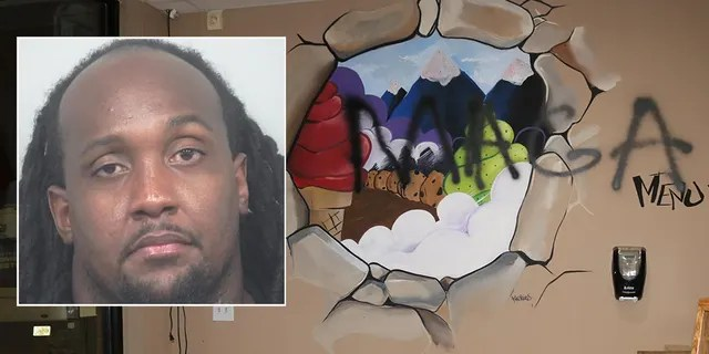 Mugshot for Edawn Coughtman, 31. Officers saw swastikas and MAGA scrawled on the walls and booths of Coughman's damaged pizza restaurant and ice cream shop near Atlanta.