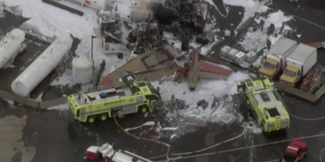 An aerial image of the crash site at Bradley International Airport in Connecticut.